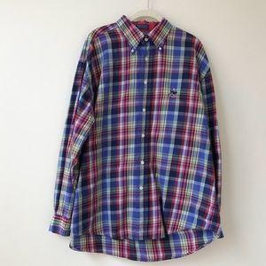 Faconnable Button Down Long Sleeve Plaid Shirt